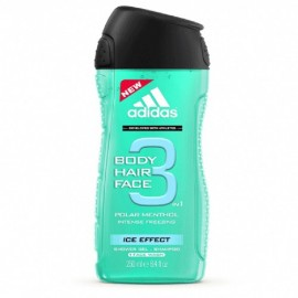 Adidas 3in1 (Body Hair Face) Ice Effect Shower Gel Shampoo 250 ml / 8.4 fl oz