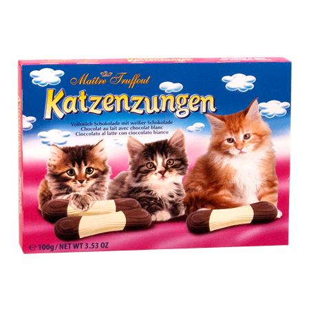 Maitre Truffout Katzenzungen Milk & White Chocolate Cat Tongues 100g / 3.5 Ounce