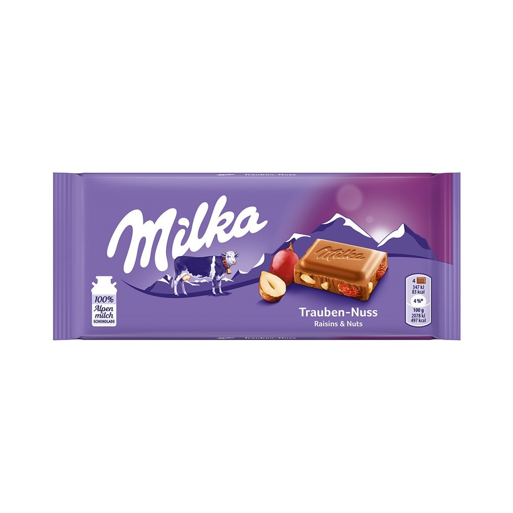 Milka Raisin & Nuts Chocolate 100 g / 3.4 oz