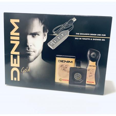 Denim Gold Eau de Toilette 100 ml / 3.4 fl oz + Shower Gel 250 ml / 8.4 fl oz + USB Hub Set