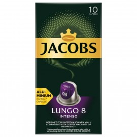 Jacobs coffee capsules Lungo 8 Intenso, 10 Nespresso compatible capsules