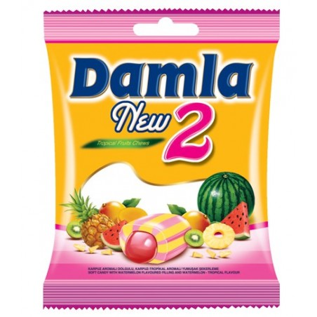 Tayas Damla New 2 Tropical Fruits Watermelon Chews 90 g / 3.17 oz