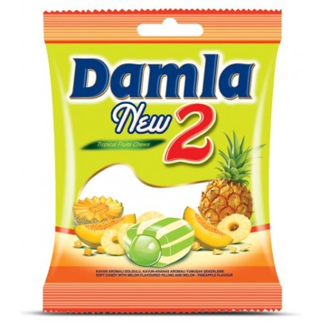 Tayas Damla New 2 Tropical Fruits Melon - Pineapple Chews 90 g / 3.17 oz