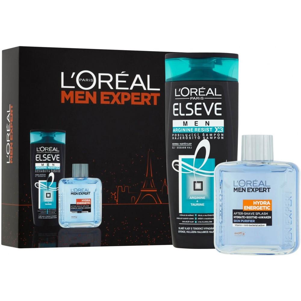 L'Oreal Elseve Men Arginine Resist X3 Shampoo 250 ml / 8.4 fl oz + Men Expert Hydra Energetic After Shave 100 ml / 3.4 fl oz